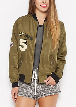 Aviator Patched Bomber Jacket