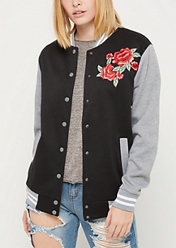 Embroidered Long Bomber Jacket