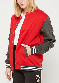 Red Long Bomber Jacket