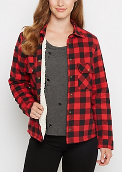 Red Buffalo Plaid Faux Sherpa Jacket