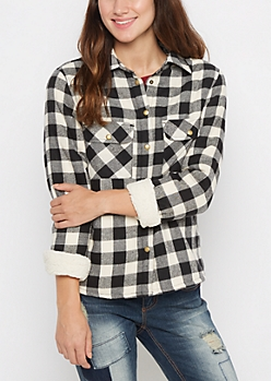 Black Buffalo Plaid Faux Sherpa Jacket