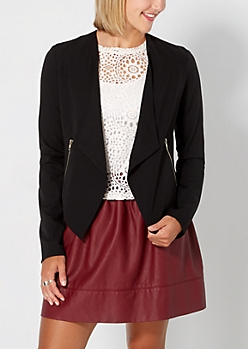 Black Zip Accent Cropped Blazer