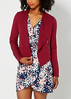 Burgundy Zip Accent Cropped Blazer