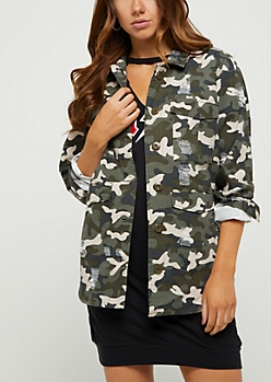 Ripped Camo Shacket