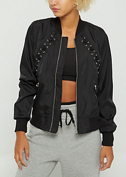 Black Lace Up Bomber Jacket
