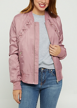 Pink Lace Up Bomber Jacket