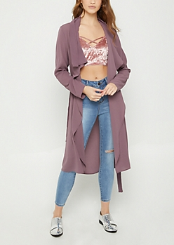 Purple Cascading Crepe Jacket