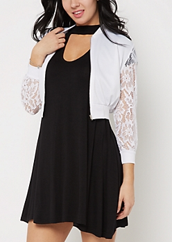 White Lace Sleeve Cropped Bomber