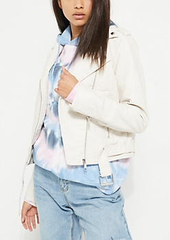 White Faux Leather Moto Jacket