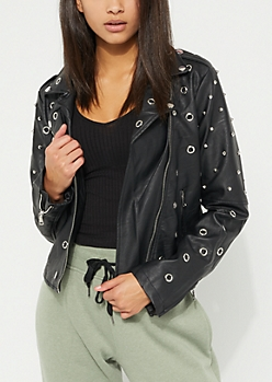 Black Vegan Leather Grommet Stud Bomber Jacket