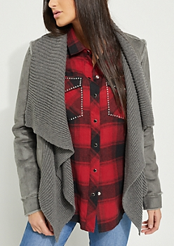 Charcoal Gray Patched Faux Fur Cascading Jacket