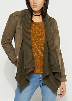 Olive Patched Faux Fur Cascading Jacket