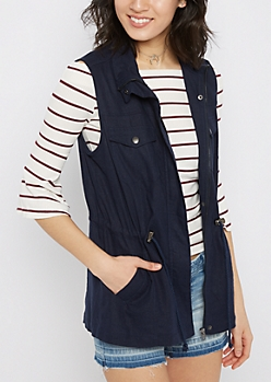Navy Twill Zip-Down Vest