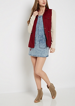 Burgundy Twill Zip-Down Vest