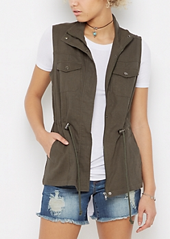 Olive Twill Zip-Down Vest