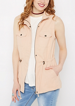 Pink Twill Zip-Down Vest