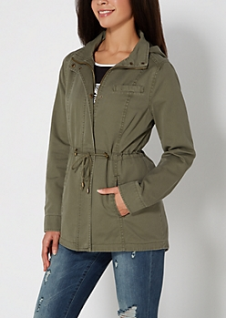 Olive Vintage Hooded Twill Anorak