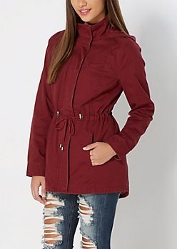 Burgundy Vintage Hooded Twill Anorak