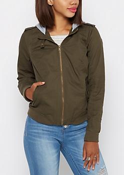 Olive Hooded Moto Bomber Jacket