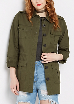 Twill Military Button Down Jacket