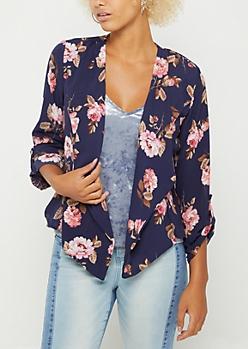 Navy Floral Cascading Blazer