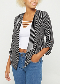 Black Striped Cascading Blazer