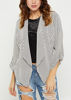 White Striped Cascading Blazer