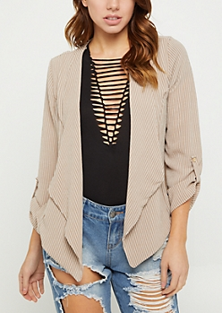 Taupe Striped Cascading Blazer