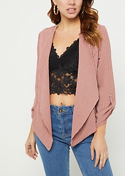Pink Striped Cascading Blazer