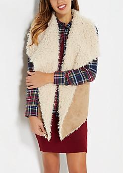Faux Fur Lined Cascading Vest
