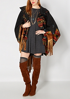 Aztec Reversible Poncho By Clover & Scout®