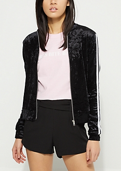 Black Crushed Velvet Track Jacket