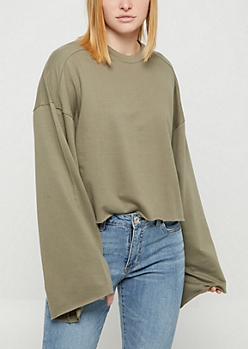 Olive Raw Cut Bell Sleeve Sweatshirt