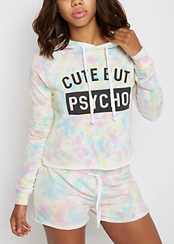 Cute but Psycho Tie-Dye Cropped Hoodie