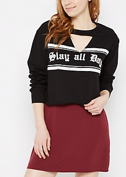 Slay All Day Cutout Cropped Sweatshirt