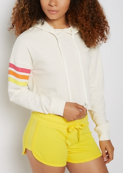 Ivory Striped Raw Edge Crop Hoodie