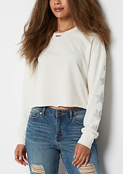 Metallic Star Crop Sweatshirt