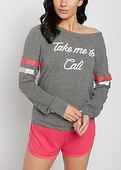 Take Me to Cali Striped Sweatshirt