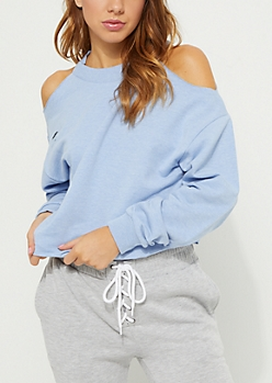 Blue Cold Shoulder Distressed Sweatshirt