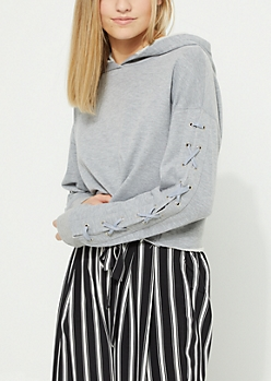 Gray Lace Up Sleeve Crop Hoodie