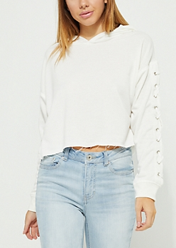 White Lace Up Crop Hoodie