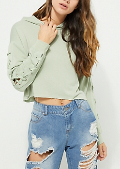 Light Olive Lace Up Crop Hoodie