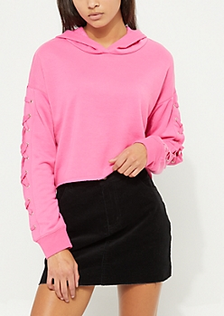 Dark Pink Lace Up Sleeve Crop Hoodie