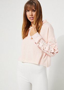 Light Pink Lace Up Sleeve Crop Hoodie