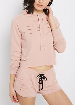 Pink Slashed Crop Hoodie