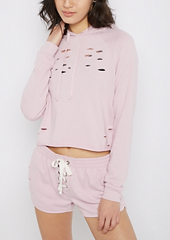 Light Purple Slashed Crop Hoodie