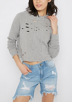 Heather Gray Slashed Crop Hoodie