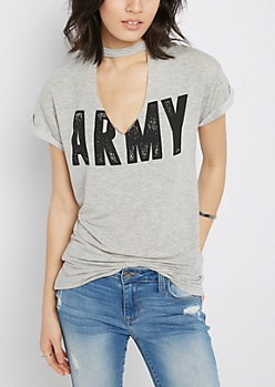 Heather Gray Keyhole Cuffed Tee