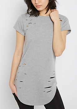 Heather Gray Ripped Tunic Sweatshirt Tee