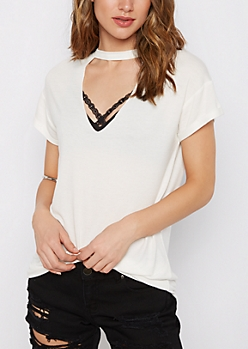 Raw Edge Cutout Neck Tee